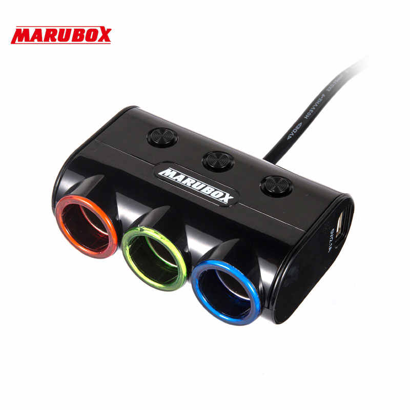 M12 3 Ways Auto Socket Splitter Car Cigarette Lighter Socket Splitter 12V/24V DC Dual USB Port Car Charger