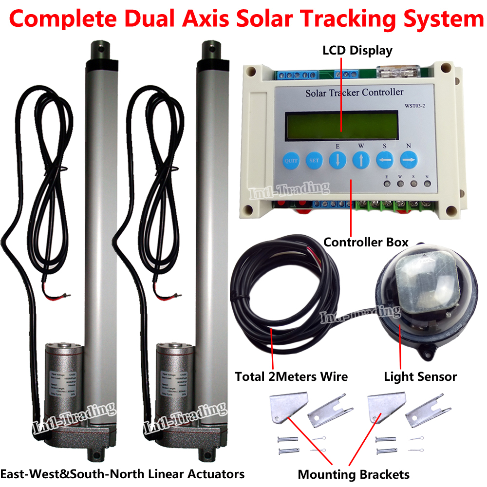 dual axis complete solar tracking kits 2 heavy dury 12 linear actuator electric [ 1000 x 1000 Pixel ]