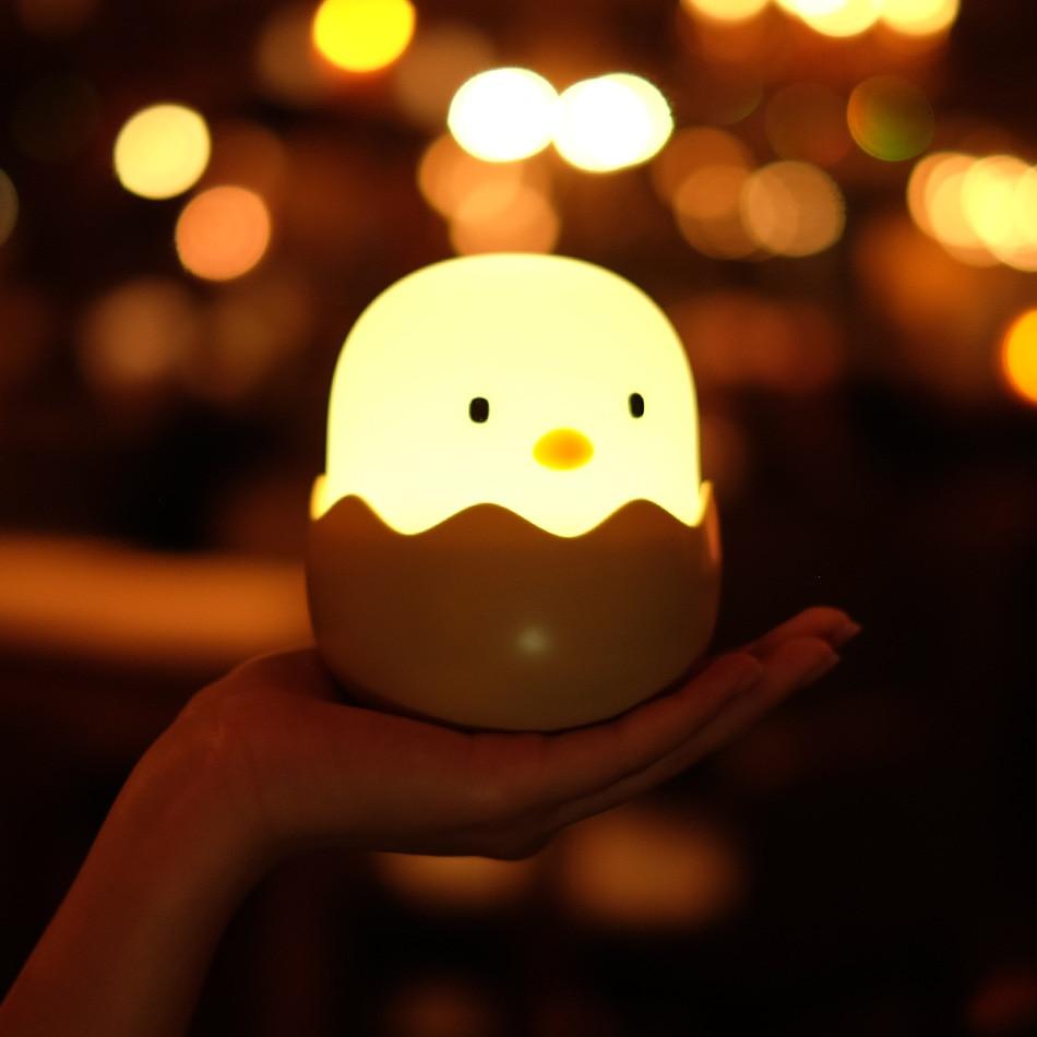 Novelty LED Cartoon Lamp Egg Shell Chicken Bedside Night Light Touch Sensor USB Rechargeable Lamp Lighting For Children Gift