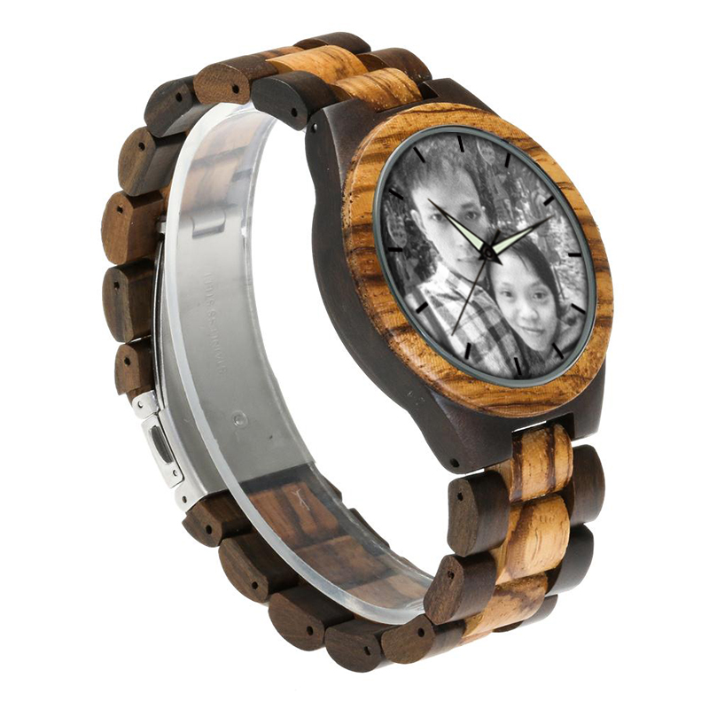 zebra wooden band watch male clock 3