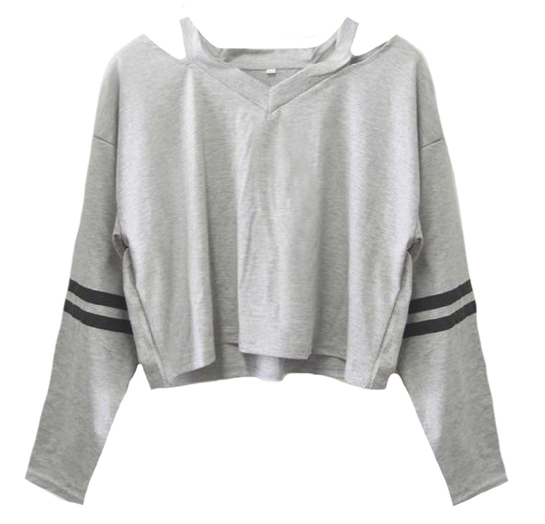 Abetteric Women Fleece Fashion Floral Print Long-Sleeve Pullover Sweatshirts