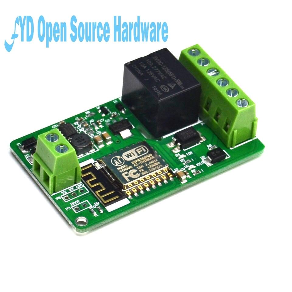 1 pces 1 canal nova chegada 1 pces verde esp8266 10a 220 v rede relé módulo wifi entrada dc 7 v 30 30 v 65x40x18mm módulos