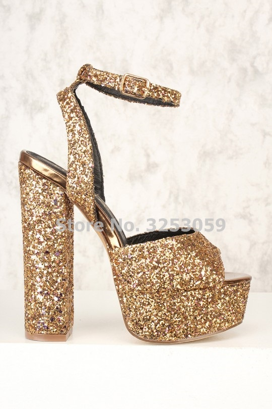 f2ac0dc5aa18 ALMUDENA Bling Bling Golden Heels Sequined Gladiator Platform Sandals  Glittering Open Toe Chunky Heels Paillette Wedding Shoes-in High Heels from  Shoes on ...