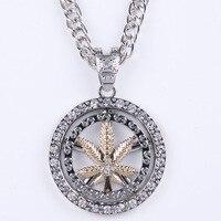 New 2014 Hip Hop Premium Grade 24k Gold Silver Men Vintage Jewelry Rotation Maple Leaf Pendant