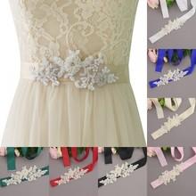 Silver Rhinestones Bridal Belt Crystal Pearls Ribbons Wedding Sash For Bridesmaids Dresses