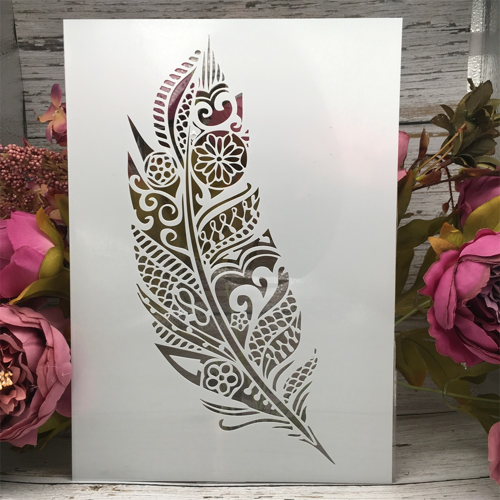 A4 29cm A Feather DIY Layering Stencils Wall Painting Scrapbook Coloring Embossing Album Decorative Paper Card Template