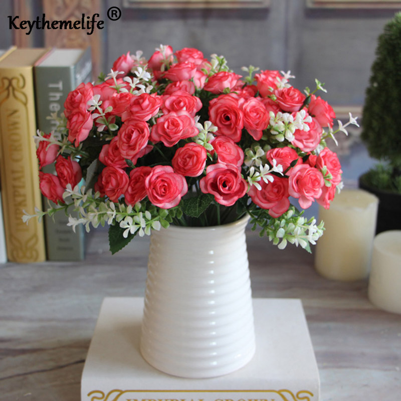 Keythemelife Artificial Flowers Silk Flower 15 Buds 1 Bouquet Fall Roses Fake Leaf Wedding Decor Home Christmas Ornament CA