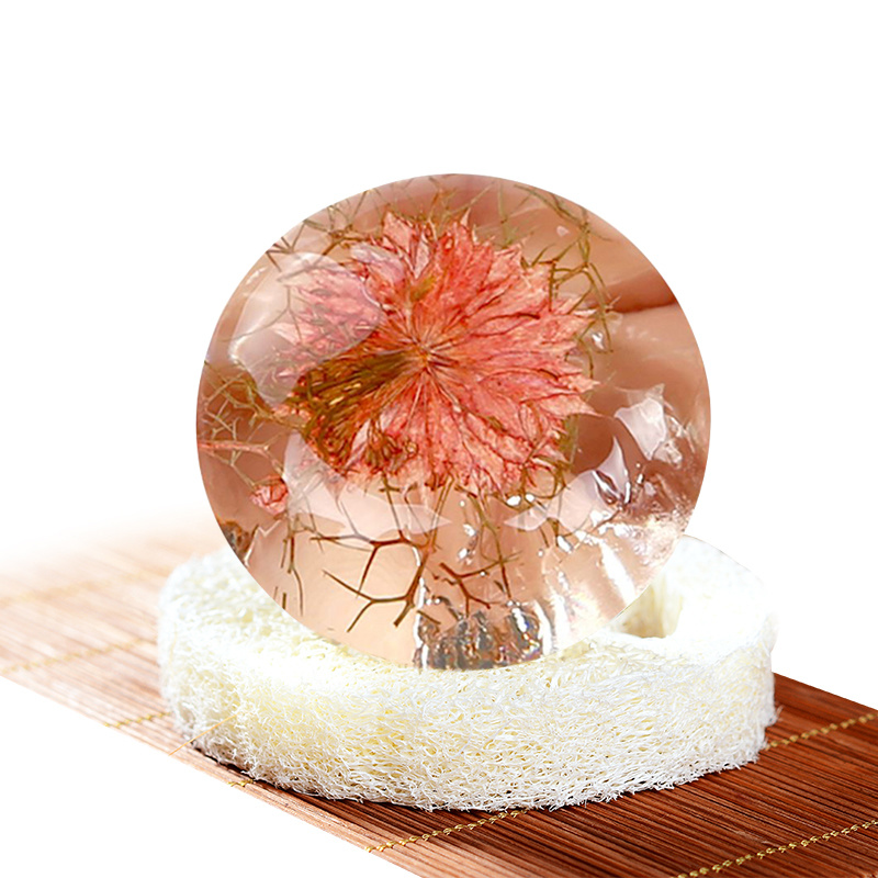 PH 5.5 Natural Non-Stimulating Deep Clean Oil And Acne Control Amino Acid Gemstone Handmade Soap With Flower Inside TSLM1