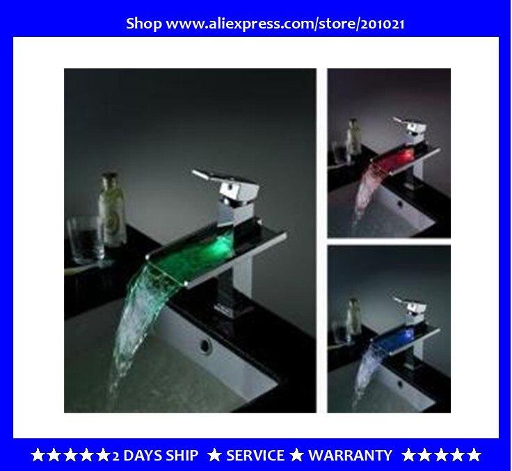 Mitigeur de robinet de baignoire moderne Chrome cascade robinet à LED & LED + 100% de garantie + livraison gratuite