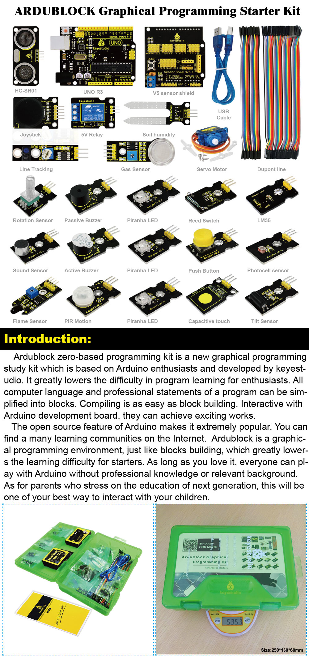 Keyestudio ARDUBLOCK Graphical Programming Starter Kit for Arduino  Education Study +UNOR3/Dupont Lines-in Home Automation Kits from Consumer