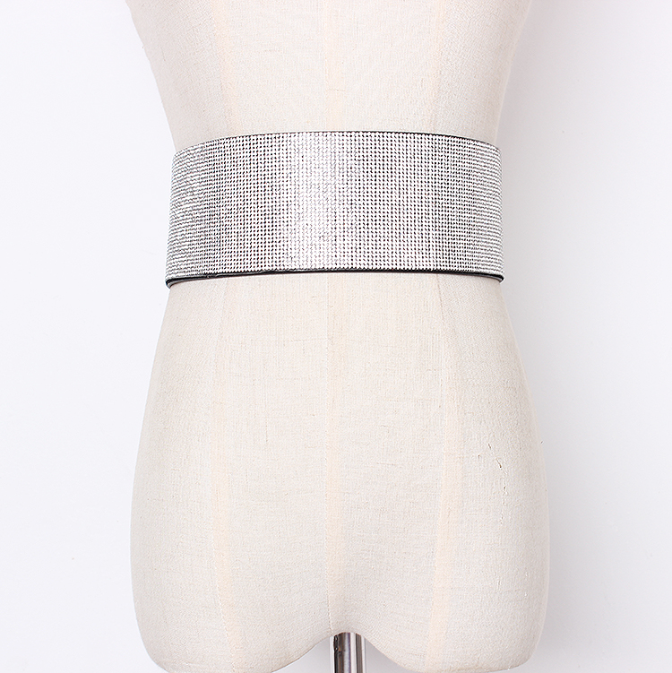 Women's Runway Fashion Blingbiling Diamonds Cummerbunds Female Dress Corsets Waistband Belts Decoration Wide Belt R1429