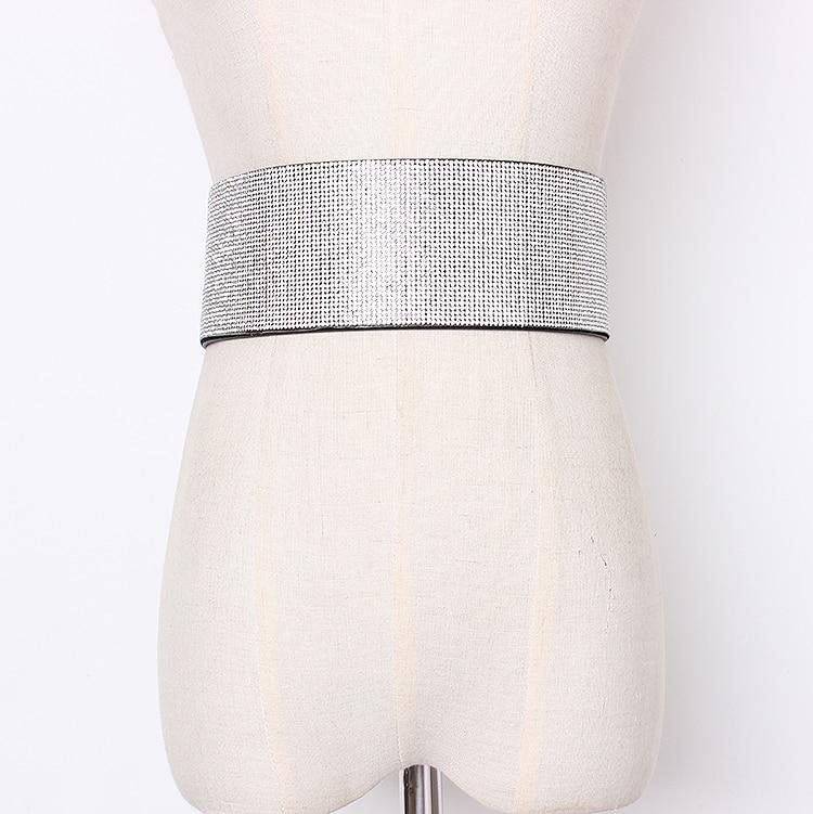 Women's Runway Fashion Blingbiling Diamonds Cummerbunds Female Dress Corsets Waistband Belts Decoration Wide Belt R1429