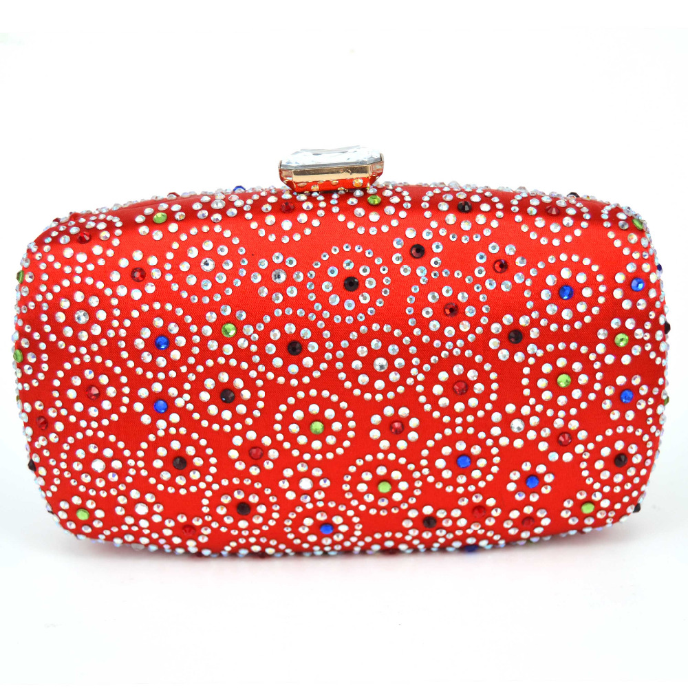 Red Women Evening Bags Diamante Crystal Clutch Bag River Pattern Wedding Party Purse Royal Black Crossbody Handbags