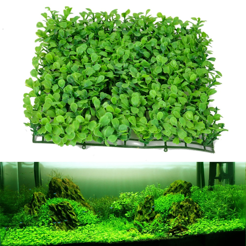 Green grass plastic fish tank ornament plant aquarium lawn for Tartarughiera in plexiglass