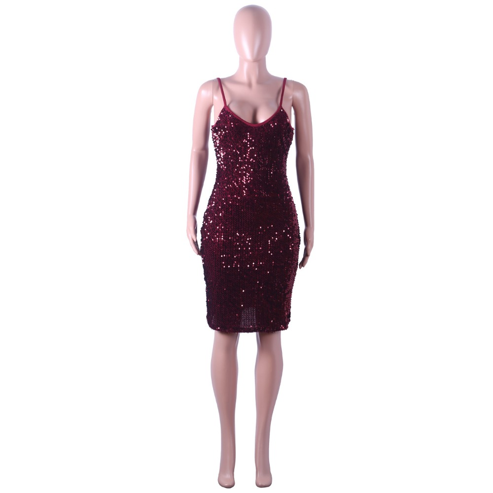 Sequined Women Spaghetti Straps Party Dress Sexy Sleeveless V Neck Bodycon Dress Women Slim Night Club Party Dresses Vestidos in Dresses from Women 39 s Clothing