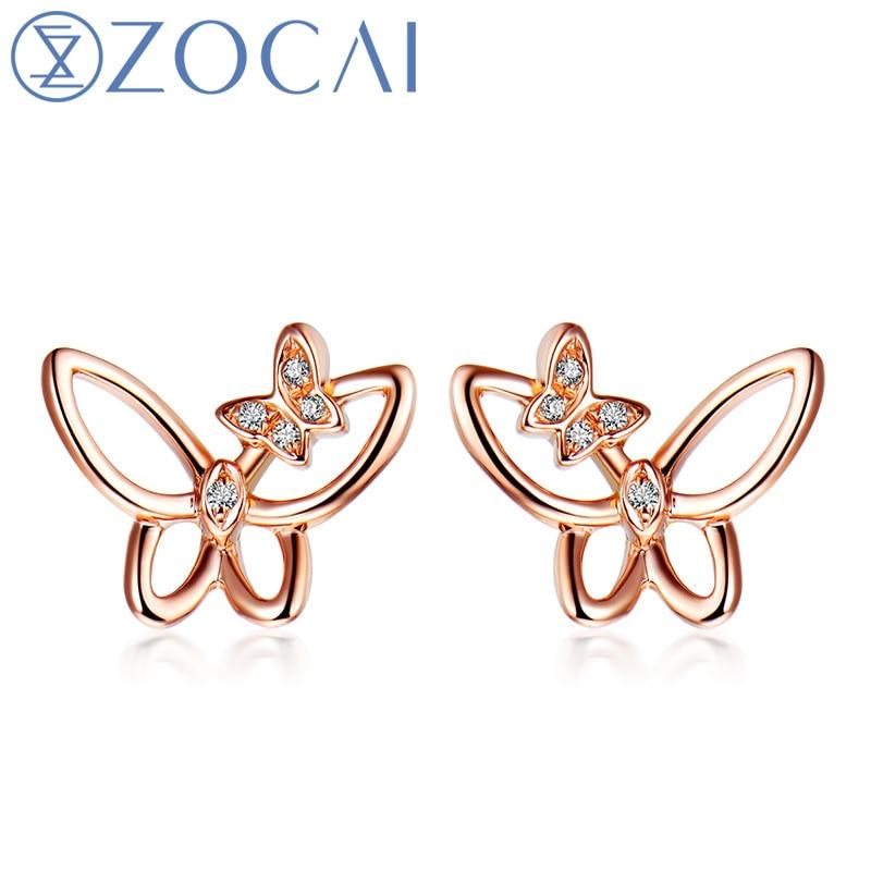 ZOCAI стильные серьги 0,02 КТ Сертифицированный настоящие серьги гвоздики с бриллиантами 18 K розовое золото (Au750) E80021T