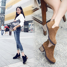 2016 New Matte Leather Martin Boots Cowhide Fashion Rough with Casual Shoes Genuine Leather Boots Women High Heel Ankle Boots