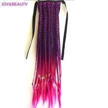 ジョイ 24 美容耐熱純粋なマニュアルウィービング編組人工毛における女性のクリップポニーテール インチロング