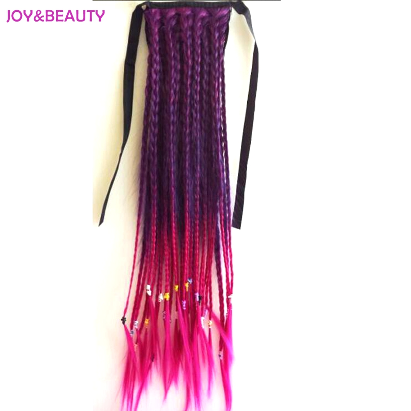 JOY&BEAUTY Heat Resistant Pure Manual Weaving Braided Synthetic Hair Women's Clip In Ponytail 24inch Long