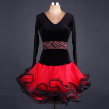 adult Velvet black and red lace splicing latin Dance Dress rhinestone Modern Dancing Dress Tango/Cha cha/Rumba Competition Dress
