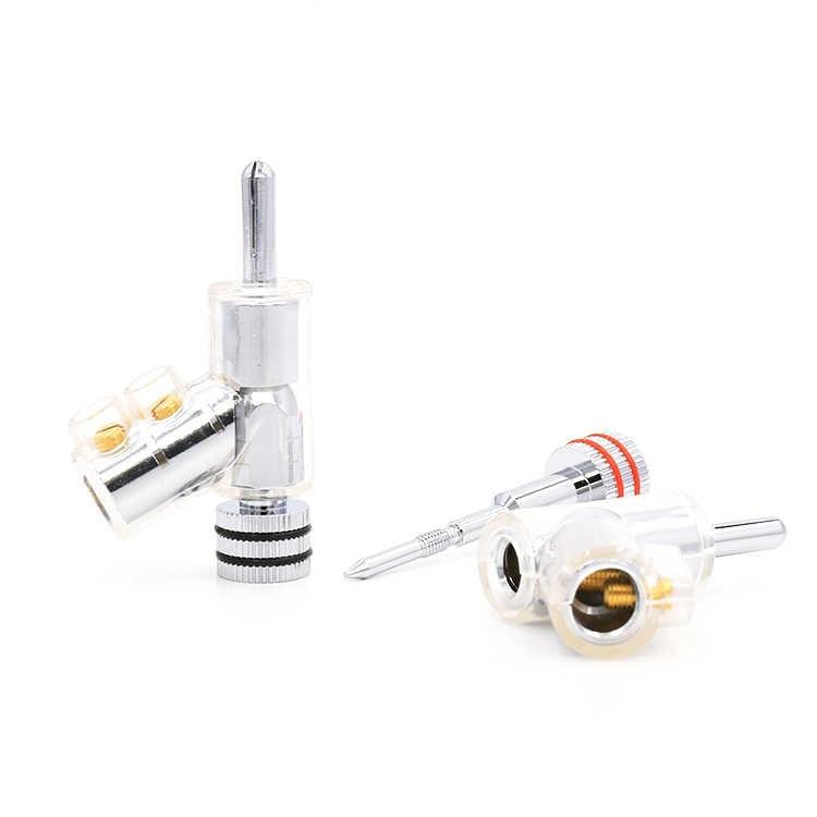 4 set Hifi oro rodio plateado Audio Banana enchufe conector altavoz Cable accesorio 45 Dgree bloqueo tornillo soldadura gratis