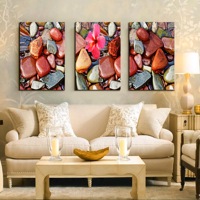 3 Panels Frameless Red Cobblestone Wall Art Pictures Print On Canvas Painting For Home Kitchen Decoration