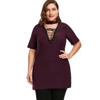 2018 New Women Fashion Plus Size Solid Color Tops V Neck Lace Up Decoration Short Sleeve