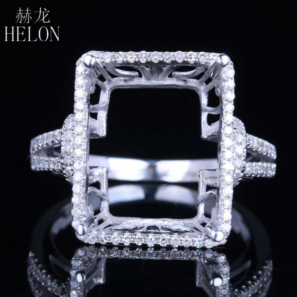 HELON Solid 14K White Gold 14x11-15x12mm Emerald Cut Semi Mount Real Natural Diamonds Engagement Wedding Women Fine Jewelry RingHELON Solid 14K White Gold 14x11-15x12mm Emerald Cut Semi Mount Real Natural Diamonds Engagement Wedding Women Fine Jewelry Ring