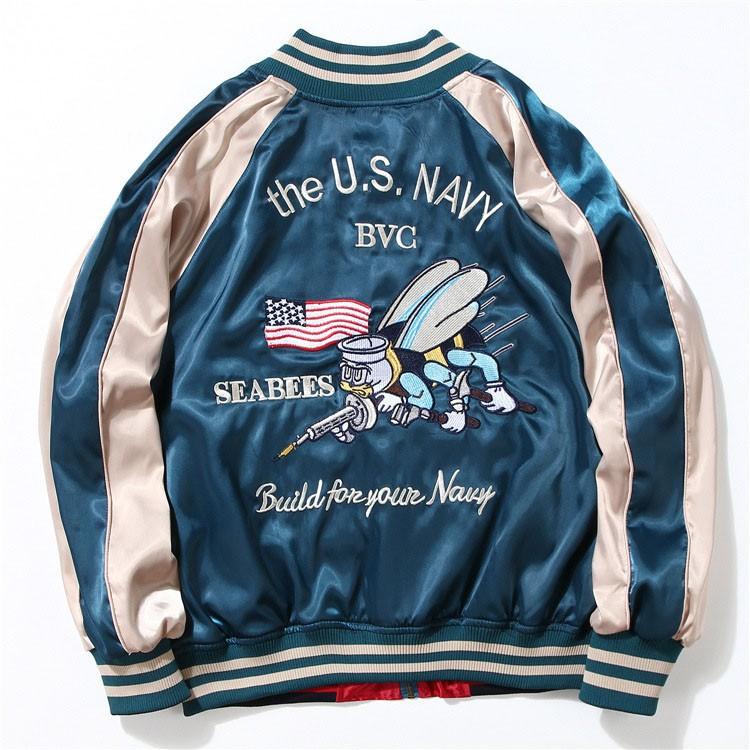 Aolamegs Japan Yokosuka Embroidery Jacket Men Women Fashion Vintage Baseball Uniform Both Sides Wear Kanye West Bomber Jackets (15)