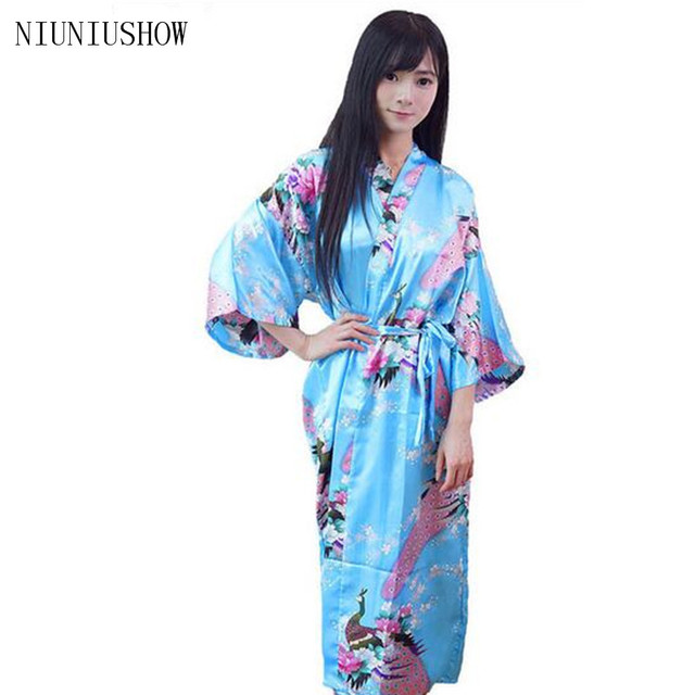 Hot Sale light Blue Chinese Lady Bathrobe Silk Rayon Long Kimono ...