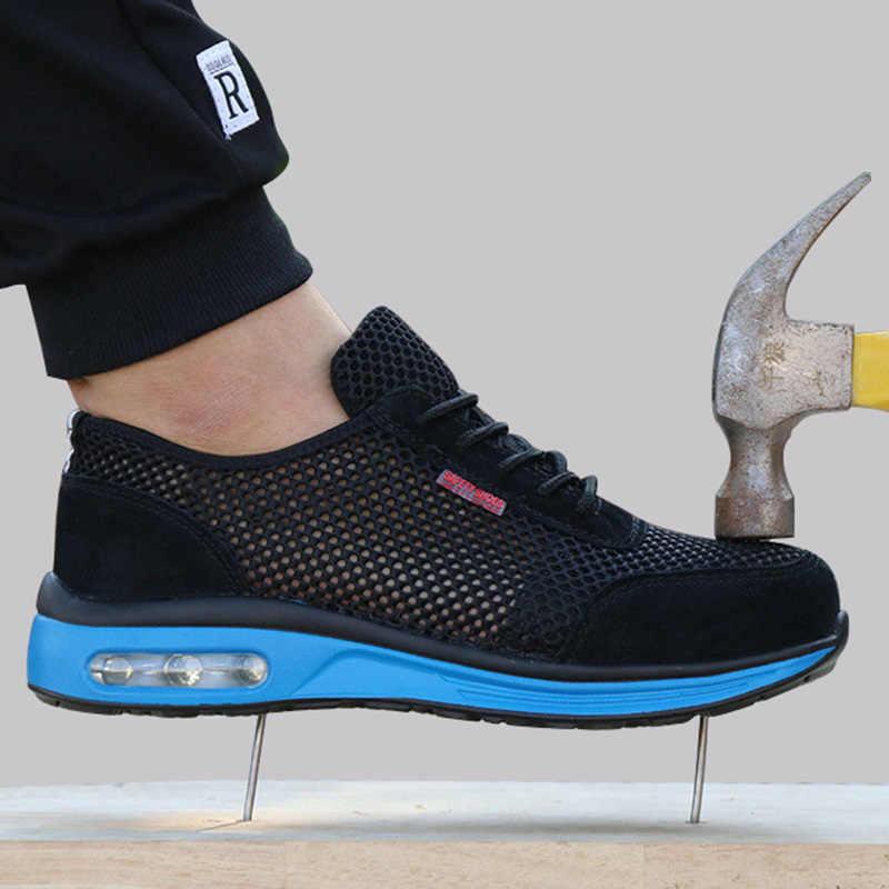 2019 koruyucu ayakkabı nefes güvenlik ayakkabıları erkek hafif çelik burunlu ayakkabı Anti-smashing Piercing çalışma tek örgü ayakkabı