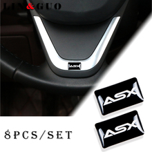 8pcs Car styling Steering wheel 3D small Emblem Sticker Wheel Decal Fit for mitsubishi ASX outlander pajero lancer Car Sticker
