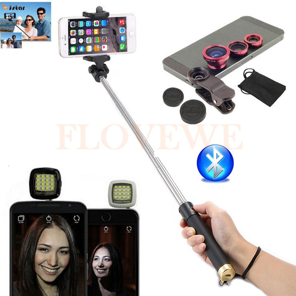 Phone Lentes Kit Macro Wide Angle Fisheye Lens Selfie Flash Fill Light Bluetooth Selfie Stick Monopod For iPhone 5 5C 5S SE 6 7