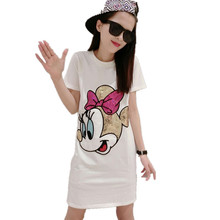 2017 Summer Harajuku Dress Short Sleeve Character Dress Women Sequin Mickey T shirt Dress Cartoon Robe Femme Dress S- 4XL YX058