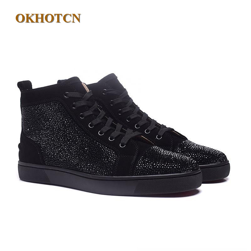 6083f5e5944 Men Designer Shoes Unisex Bling Blue Glitter Spike Studs Red High ...