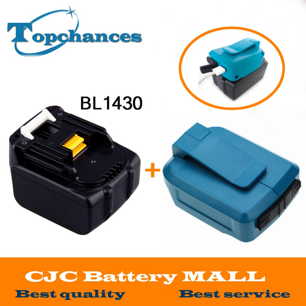 New 3000mAh 14.4V Li ion Power Tool Battery for Makita 194065 3 BL1415 BL1430 MET1821 LXPH02 Battery +USB Charger Adapter|Replacement Batteries|Consumer Electronics - title=