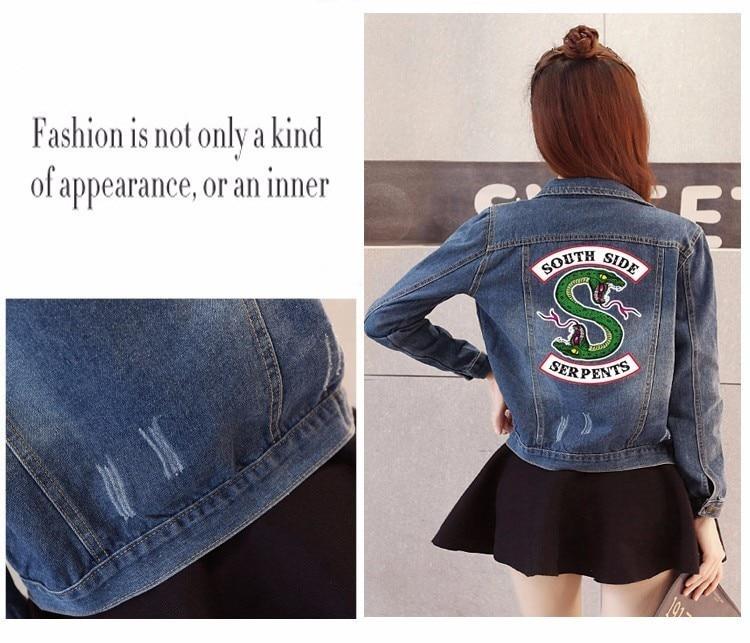 Women Denim Jacket Riverdale southside serpents Jeans bomber jacket Coat Casual female Outwear Solid Plus Size big size 4XL 5XL 2