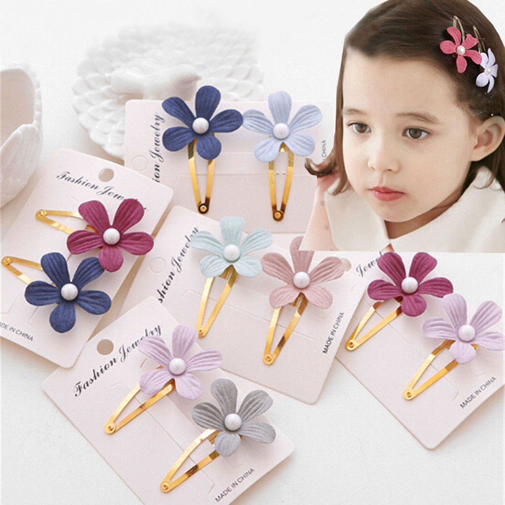 2Pcs Kids Girls Pearl Flower Hair Clip Girls Kids Hairpin Accessories For Children Hair Barrette Hairclip Headdress Headwear