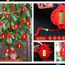 Китайский год украшения 3D Флокирование маленькие фу красные фонари Весенний фестиваль висячие орнамент Горшечное растение украшения