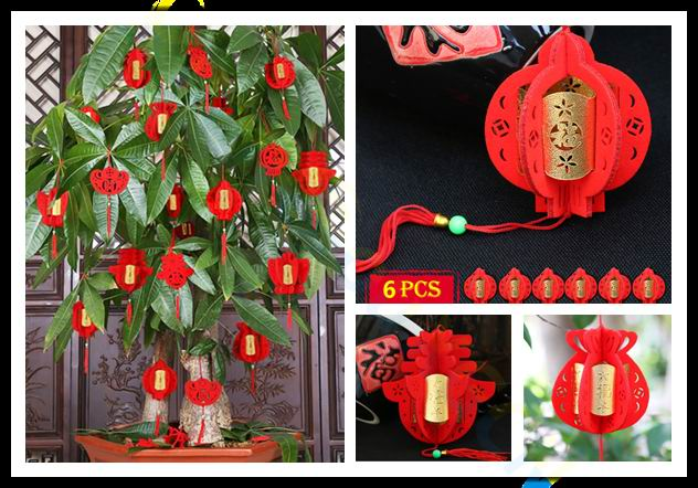 Chinese New Year Decorations 3D Flocking Small FU Red Lanterns Spring Festival Hanging Ornament Potted Plant Decoration