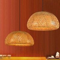 Moderno Natura di Bambù Mano Lavoro A Maglia Di Bambù Lampade a sospensione Creativo Ha Condotto La Lampada A Sospensione Con Tonalità di Bambù Per La sala da pranzo