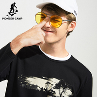Pioneer Camp New Printed T Shirt Men Brand Clothing Fashion Autumn Spring T Shirt Male Top