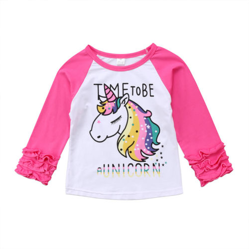 2953ea0cc Cute Baby Girl Kids Unicorn Top Patchwork T-shirts Long Sleeve Pullover  Clothes