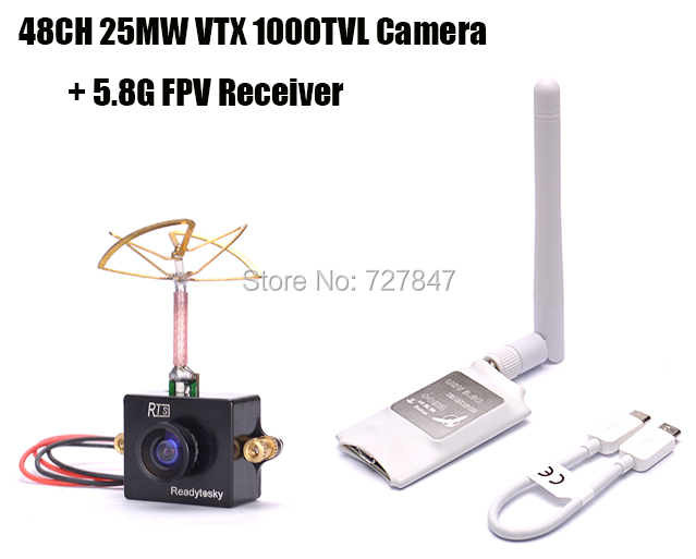 Mini 5.8G FPV Receiver UVC Video Downlink OTG VR + Readytosky 5.8G 48CH 25MW VTX 1000TVL FPV Camera Built-in Transmitter fpv mini 5 8g 150ch mini fpv receiver uvc video downlink otg vr android phone