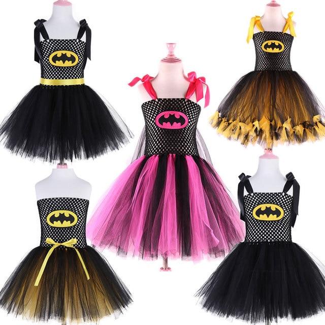 2019 New Cute Super Hero Ballet Skirt Costume Hot Pink Batgirl Tutu Skirt For Girls