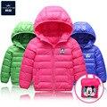 Высокое Качество Зимой Дети Мальчики Девочки пуховики для детей пальто Девушки Верхняя Одежда Детские Куртки 6 Цвета с небольшой сумке с капюшоном