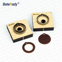 Keychain stitching punch die,BateRady DIY leather sewing stitching hole cutter,Japan steel Blade 23.8*0.71mm+17 18mm wood plate