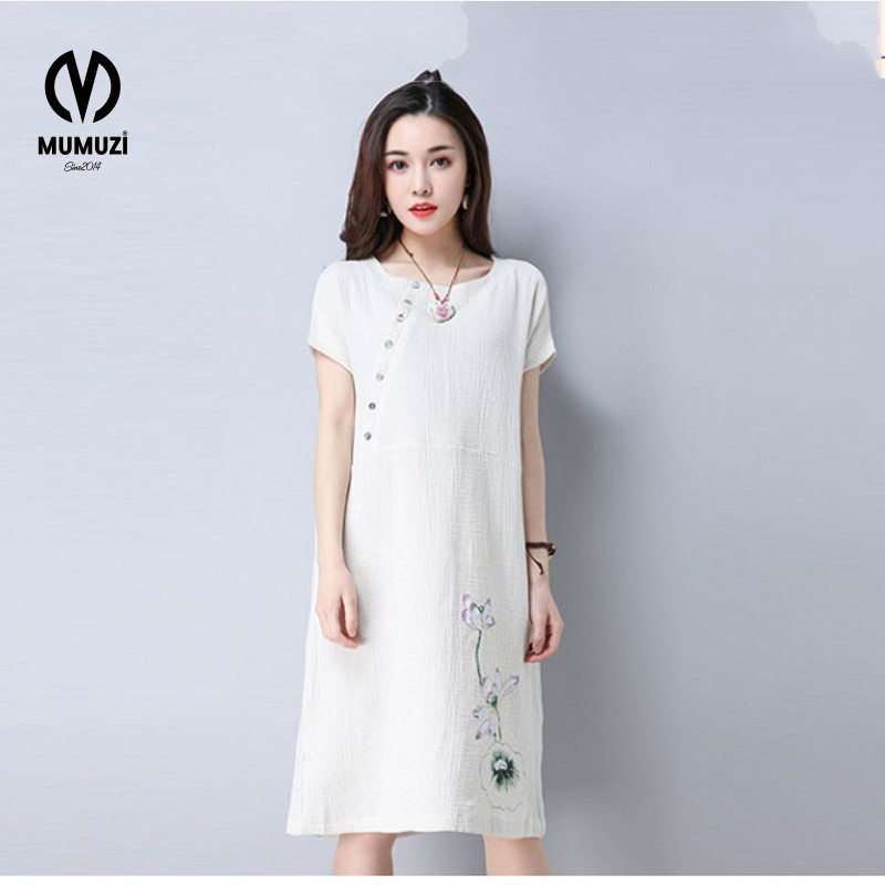 Buy Cheap Tropical Floral New Women's Fashion Personality Pure Color Applique Adornment Straight Knee Summer Dress With Short Sleeves Roun