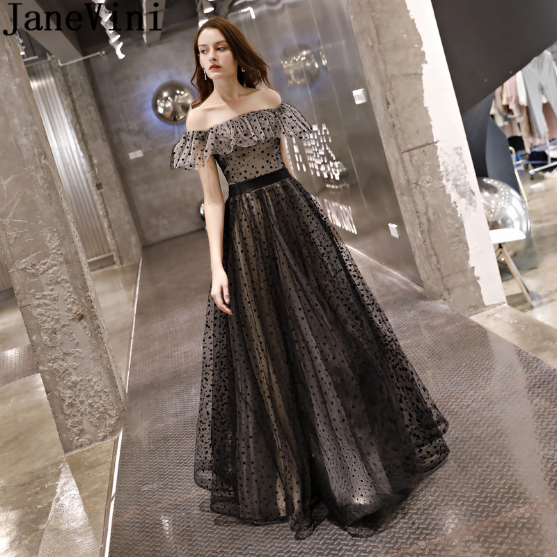 JaneVini Black Spot Wedding Party   Dress   Formal Off Shoulder Boat Neck   Bridesmaid     Dresses   Long Tulle Gown 2018 Vestidos Para Boda