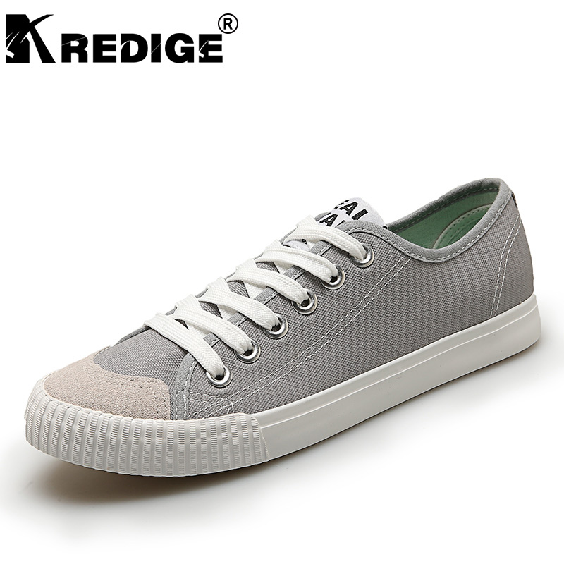 KREDIGE Low Solid Canvas Shoes Mens Breathable Hard-Wearing Soles Lace-Up Casual Shoes Light Anti-Odor Men Shoes Big Size 39-44 kredige anti odor zip tide leather shoes hard wearing mens casual shoes pu breathable waterproof plate shoes british style 39 44